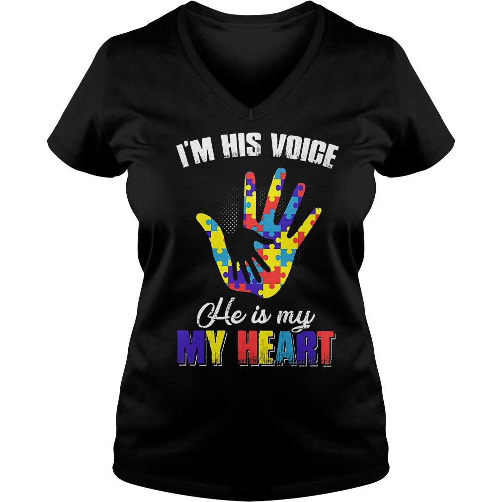 I'm His Voice He Is My Heart Autism Awareness T-Shirt Ladies V-Neck