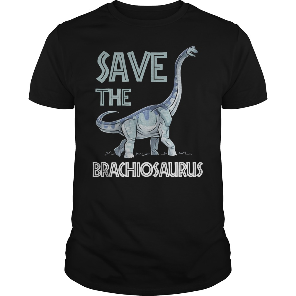 Jurassic World Save The Brachiosaurus Dinosaur T-Shirt Classic Guys / Unisex Tee