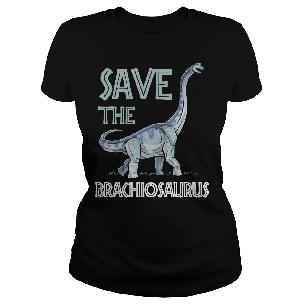 Jurassic World Save The Brachiosaurus Dinosaur T-Shirt Classic Ladies Tee