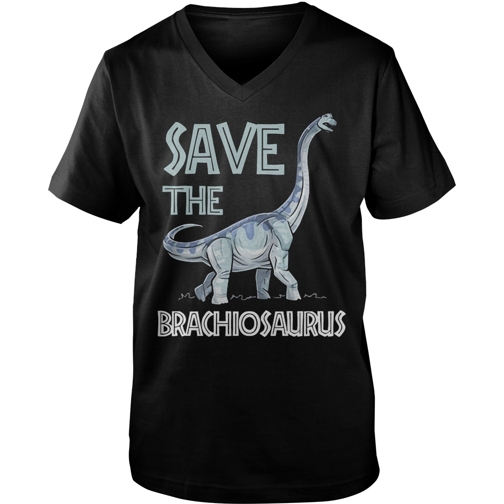 Jurassic World Save The Brachiosaurus Dinosaur T-Shirt Guys V-Neck