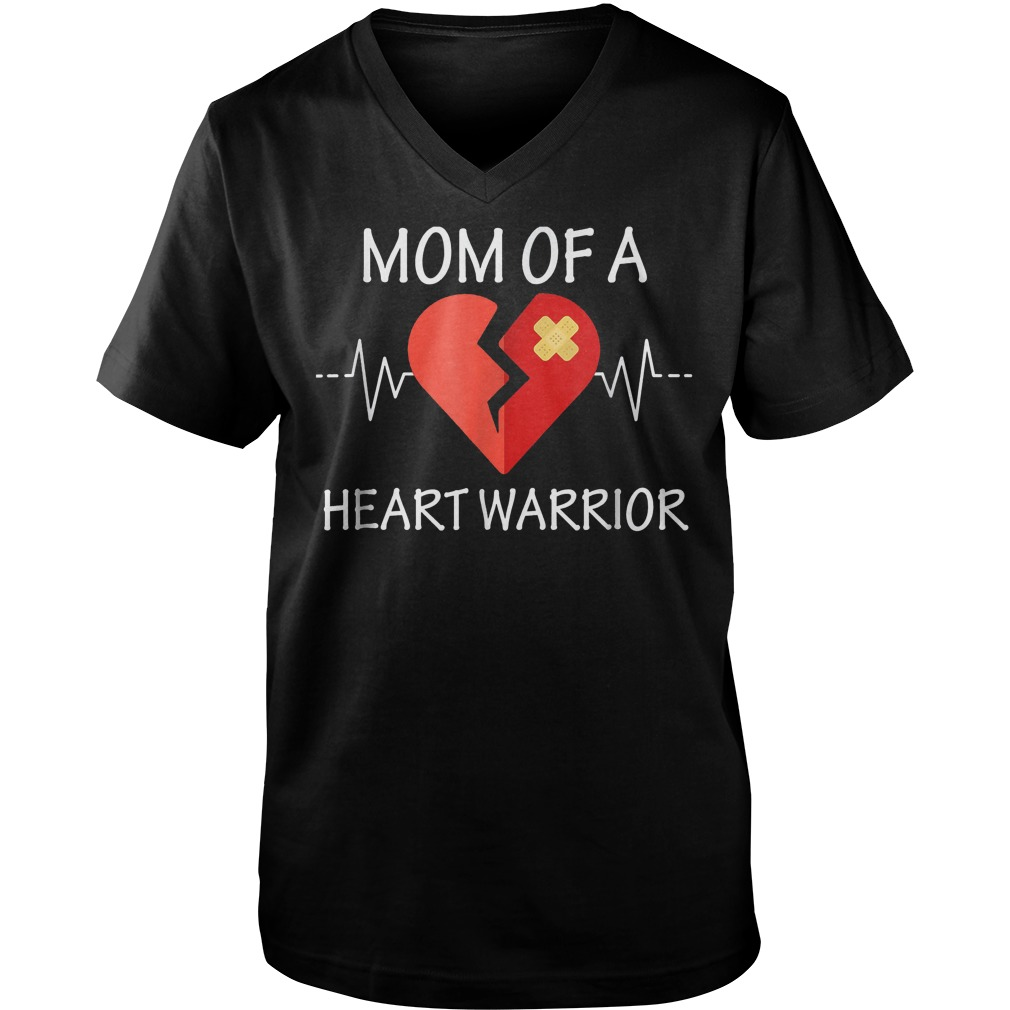 Mom Of A Heart Warrior T-Shirt Guys V-Neck