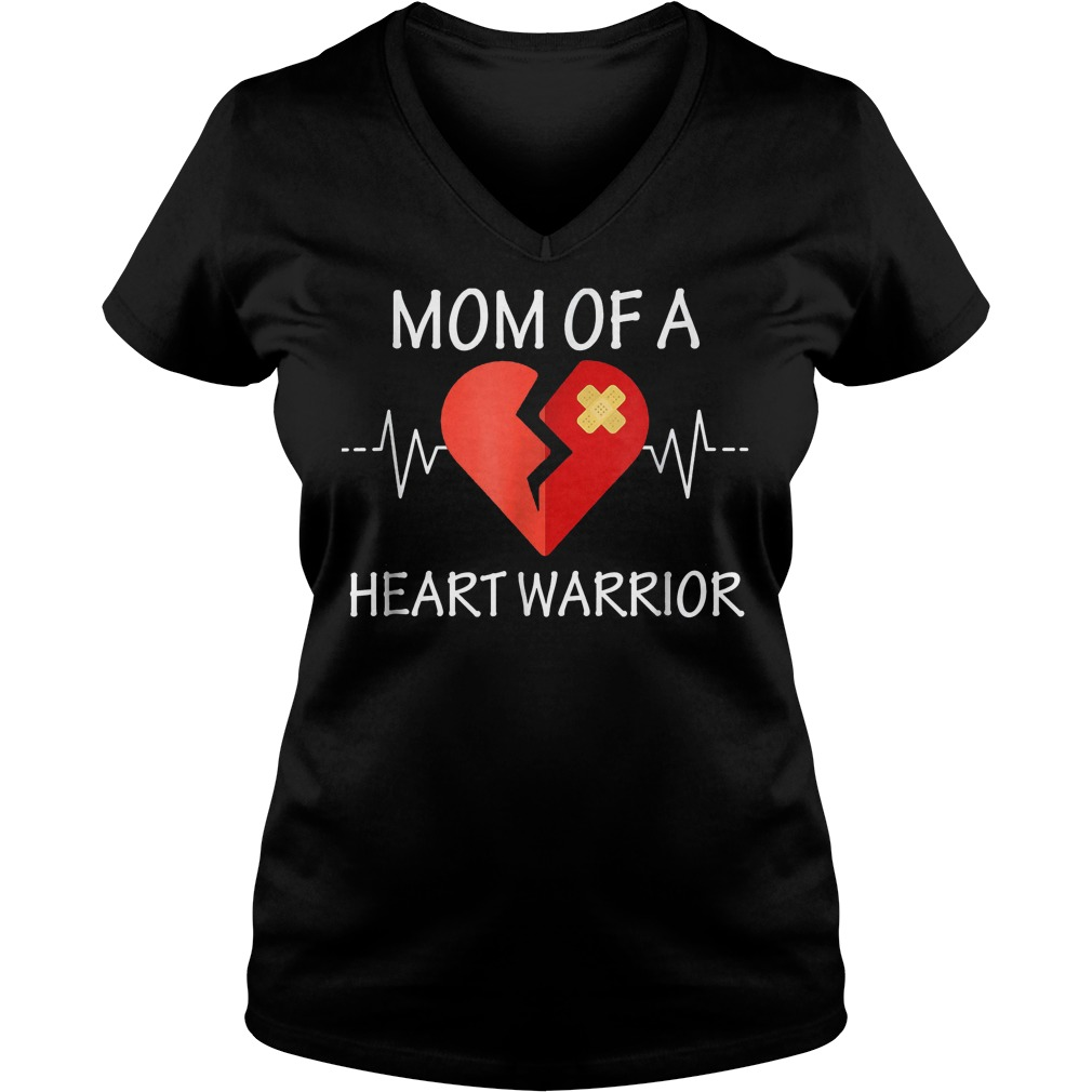 Mom Of A Heart Warrior T-Shirt Ladies V-Neck