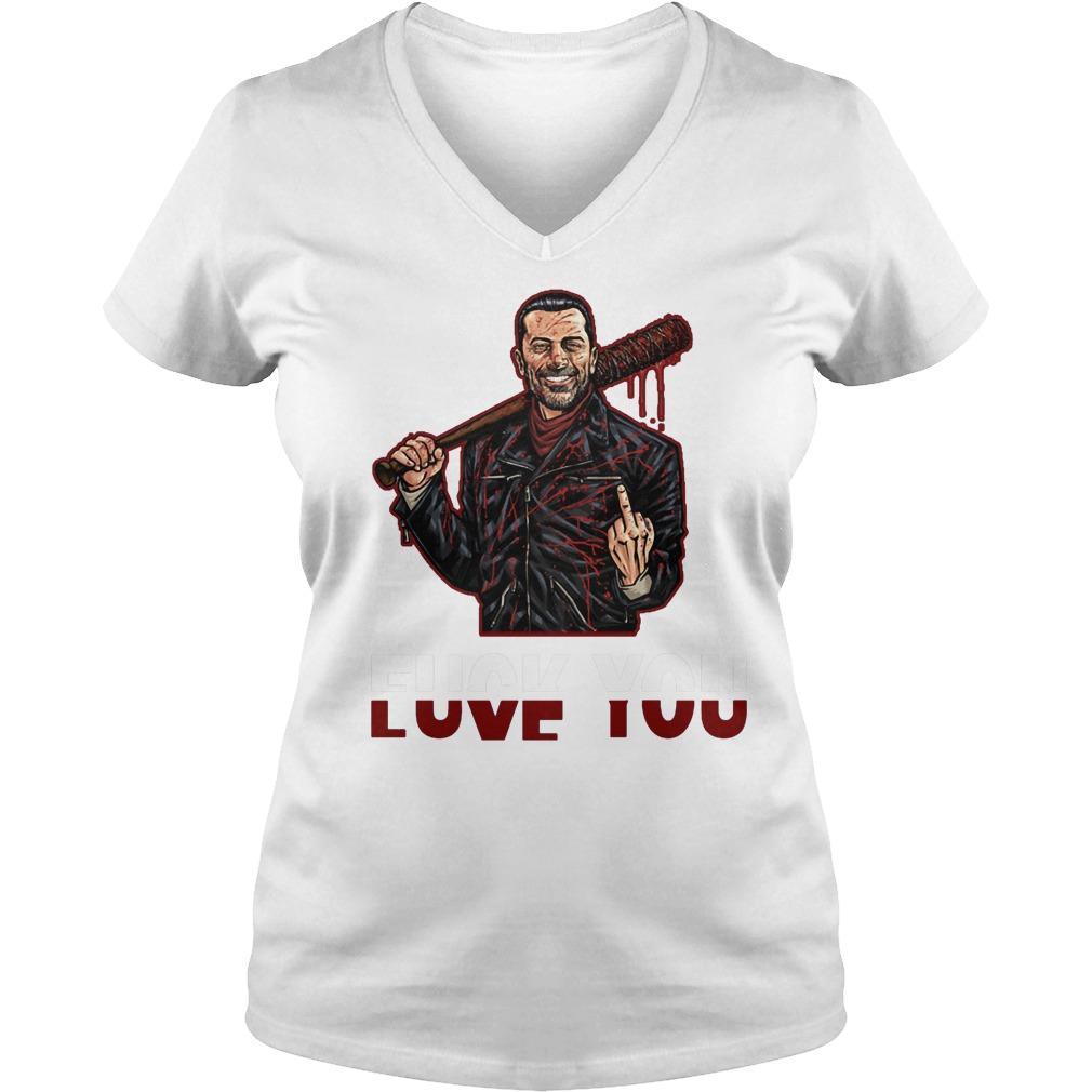 Negan Fuck You Love You The Walking Dead T-Shirt Ladies V-Neck