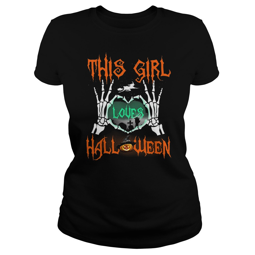 Official This Girl Loves Halloween T-Shirt Classic Ladies Tee