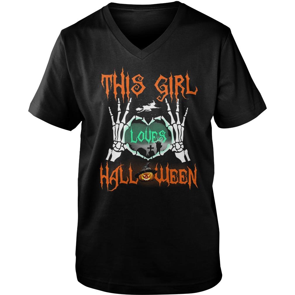Official This Girl Loves Halloween T-Shirt Guys V-Neck