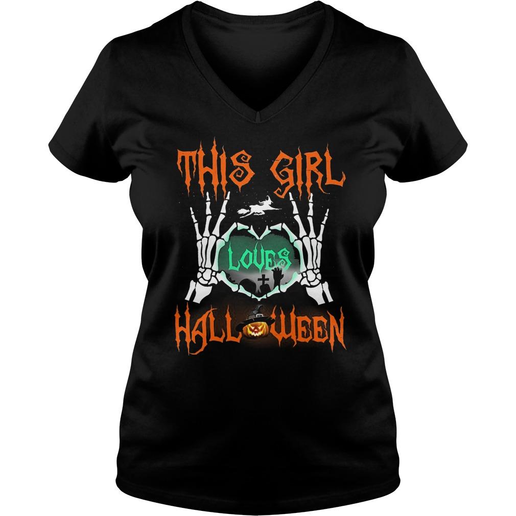 Official This Girl Loves Halloween T-Shirt Ladies V-Neck