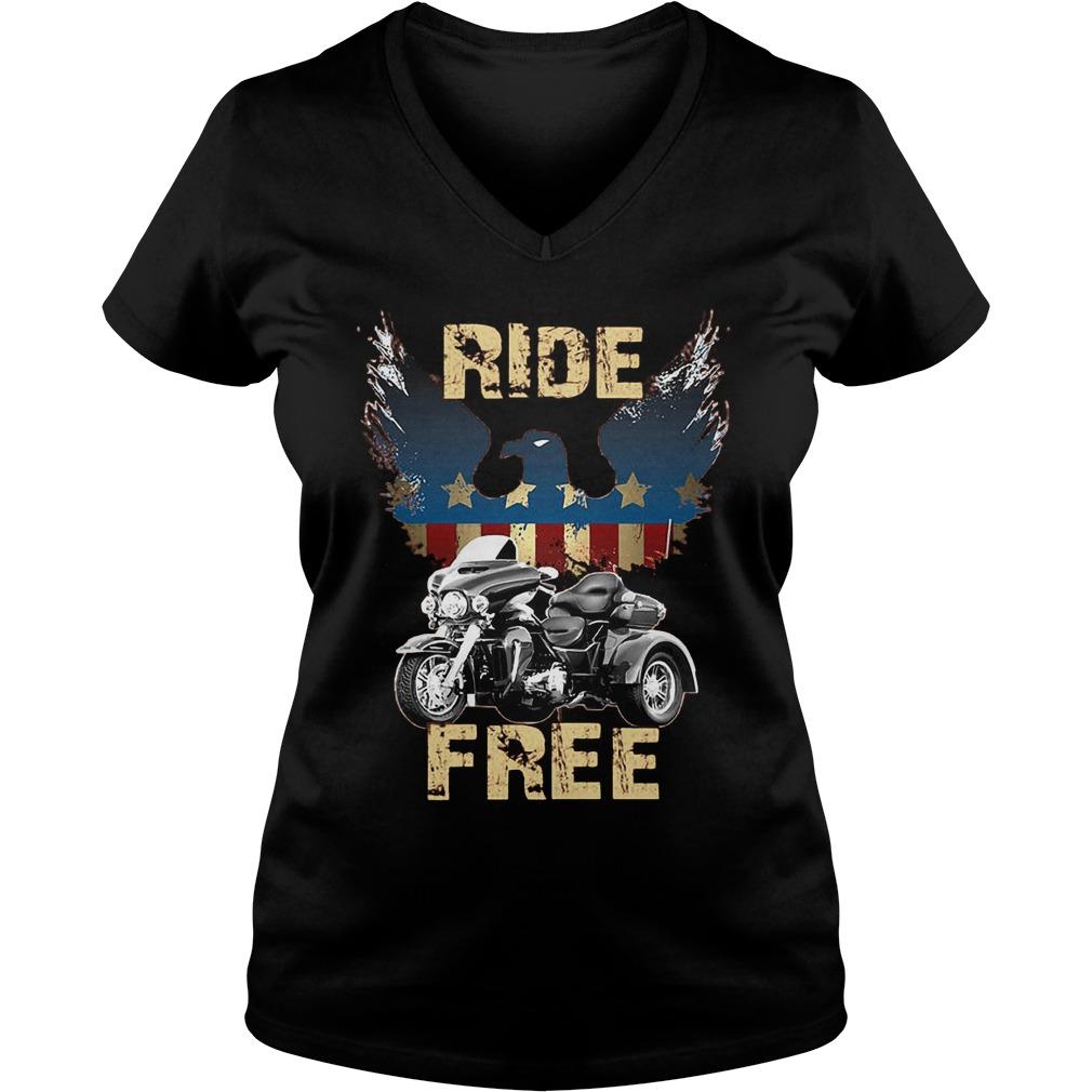 Ride America Free T-Shirt Ladies V-Neck