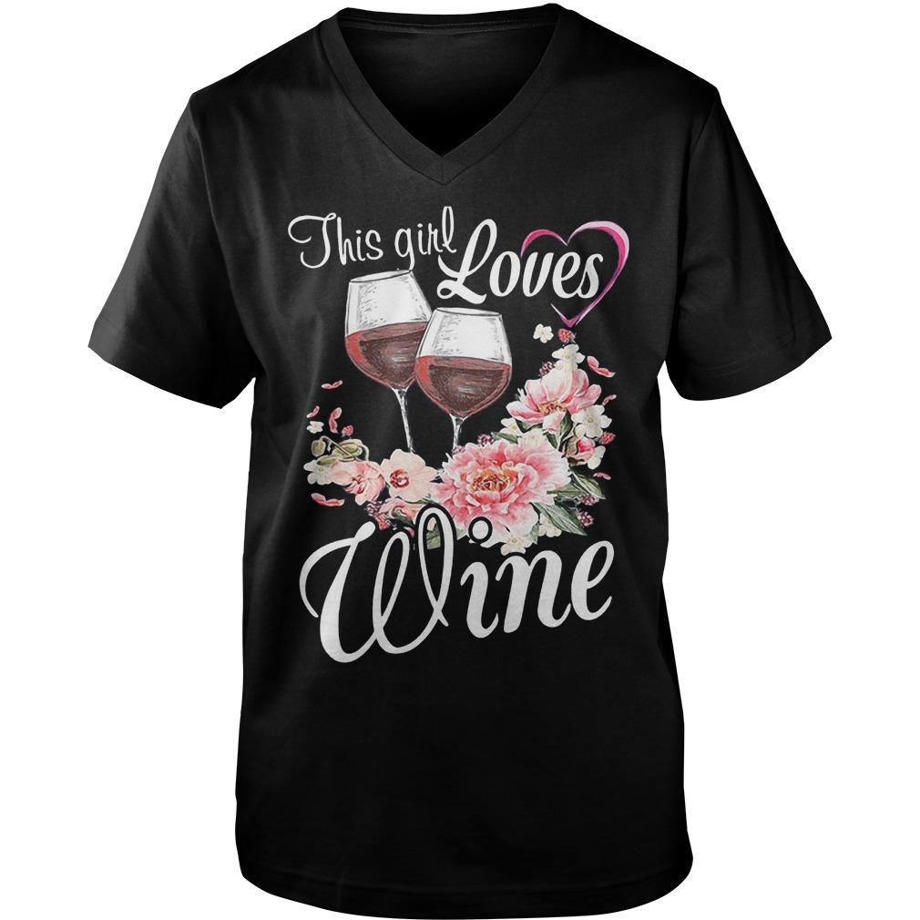 This Girl Loves Wine T-Shirt Guys V-Neck