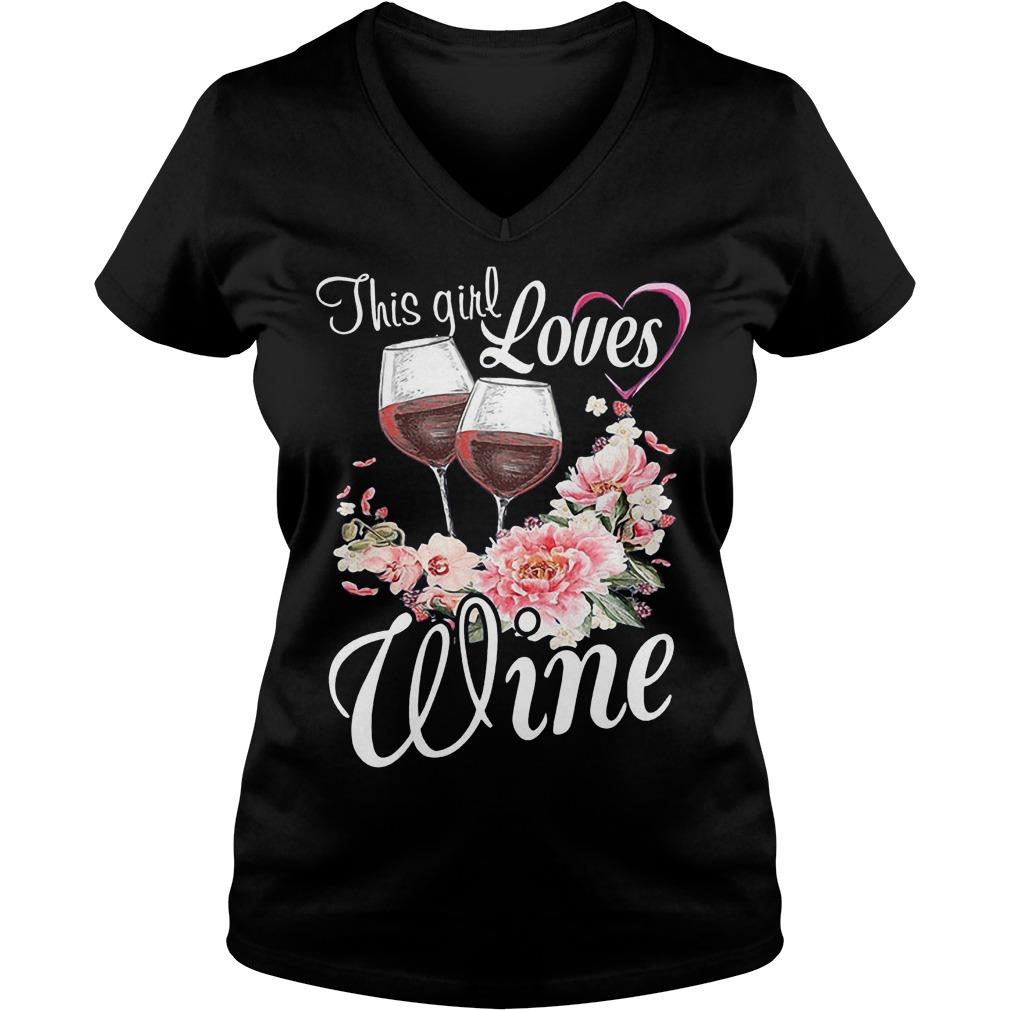 This Girl Loves Wine T-Shirt Ladies V-Neck