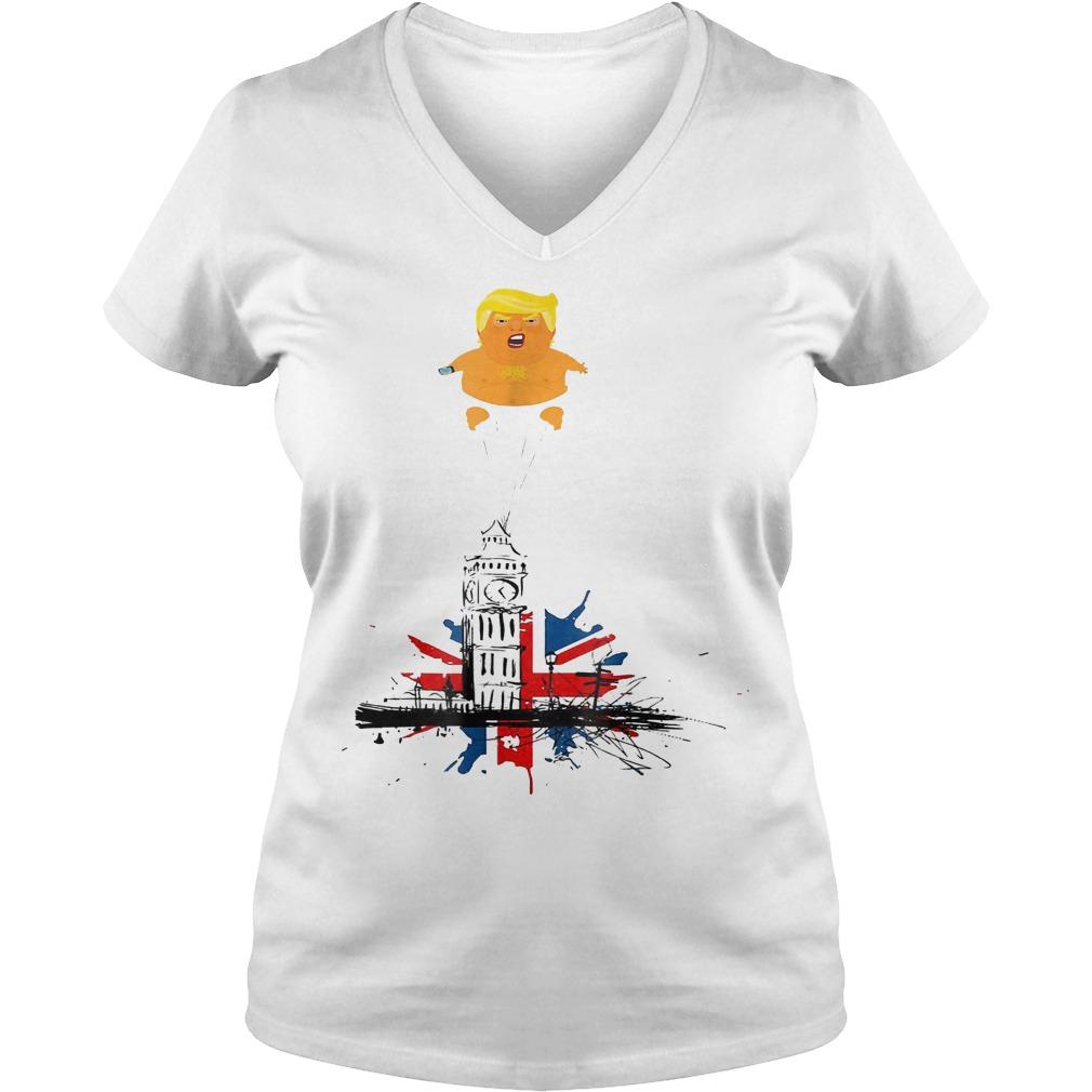 Trump And Baby Blimp T-Shirt Ladies V-Neck
