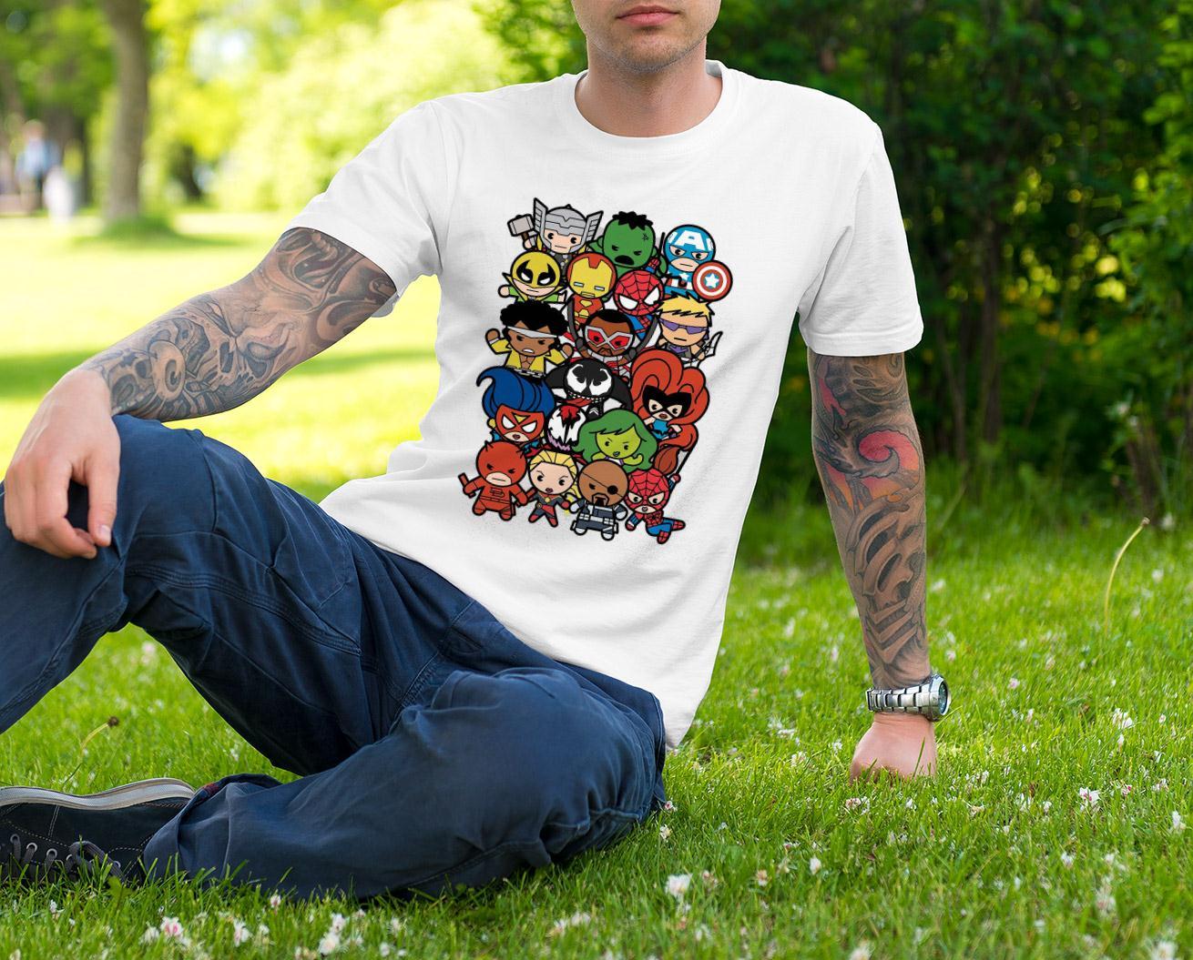 Villains Team Kawaii And Marvel Heroes T Shirt