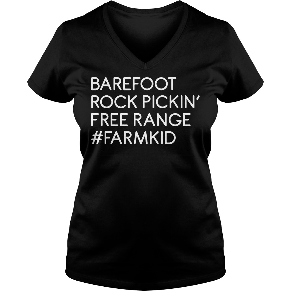 Barefoot rock pickin' free range farm kid Shirt Ladies V-Neck