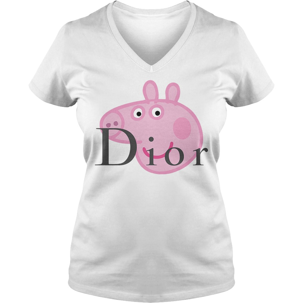 Dior Peppa Pig shirt Ladies V-Neck