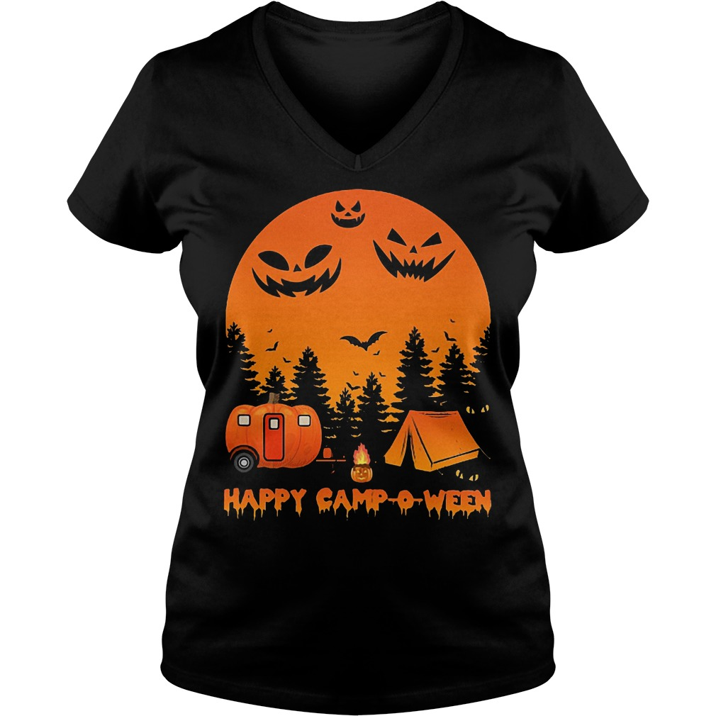 Happy Camp-o-ween Halloween Camping Shirt Ladies V-Neck
