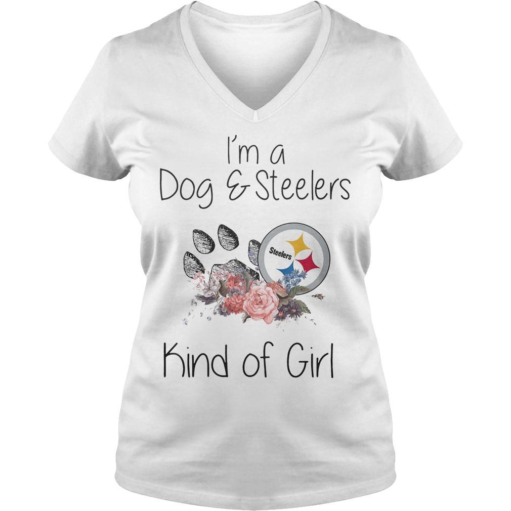I'm a Dog Steelers kind of girl shirt Ladies V-Neck