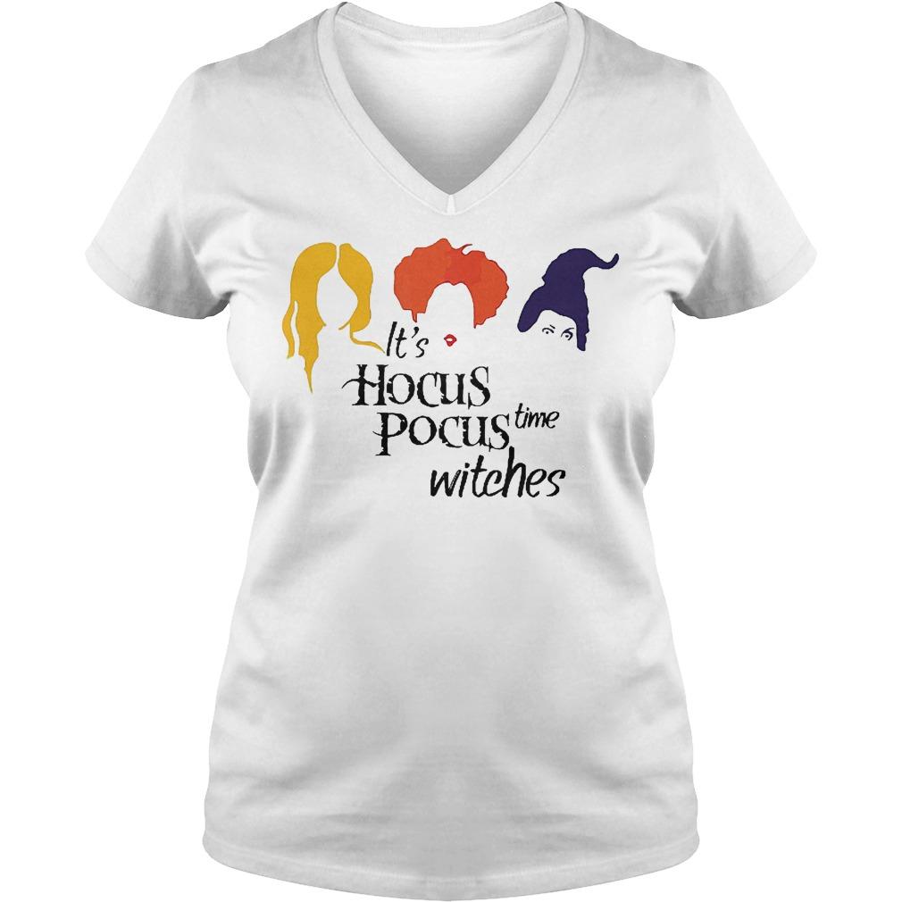 It's hocus pocus time witches shirt Ladies V-Neck