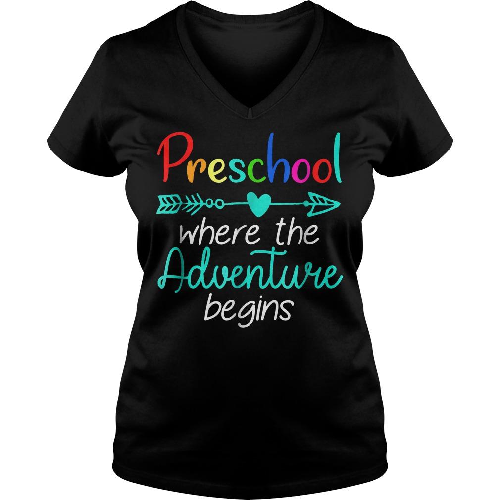 Preschool Where The Adventure Begins Shirt Ladies V-Neck