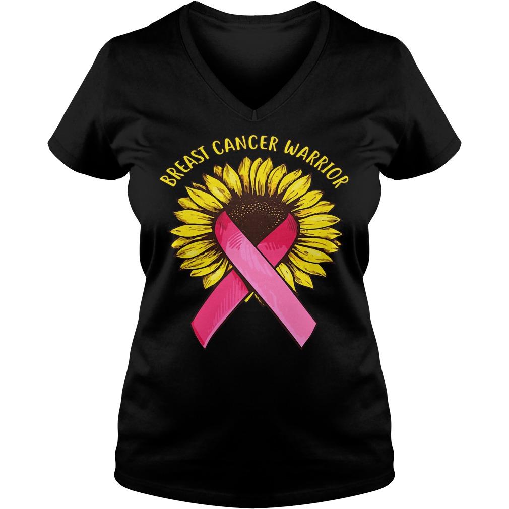 Sunflower Breast Cancer Warrior shirt Ladies V-Neck