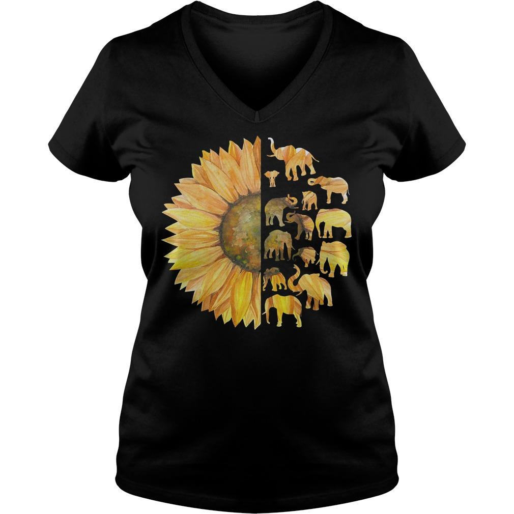 Sunflower Elephant shirt Ladies V-Neck