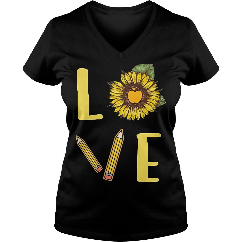 Sunflowers Teacher Love Teach Shirt Ladies V-Neck