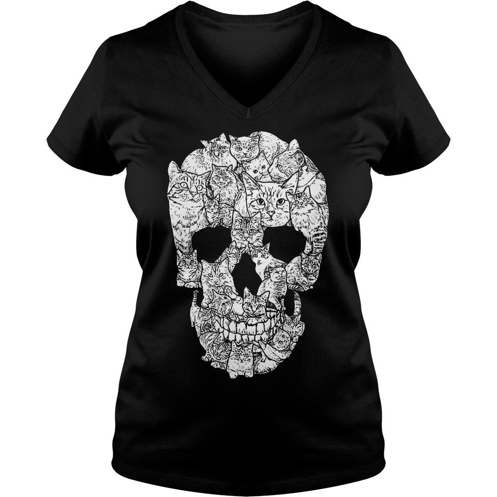 Cat Skull shirt Ladies V-Neck