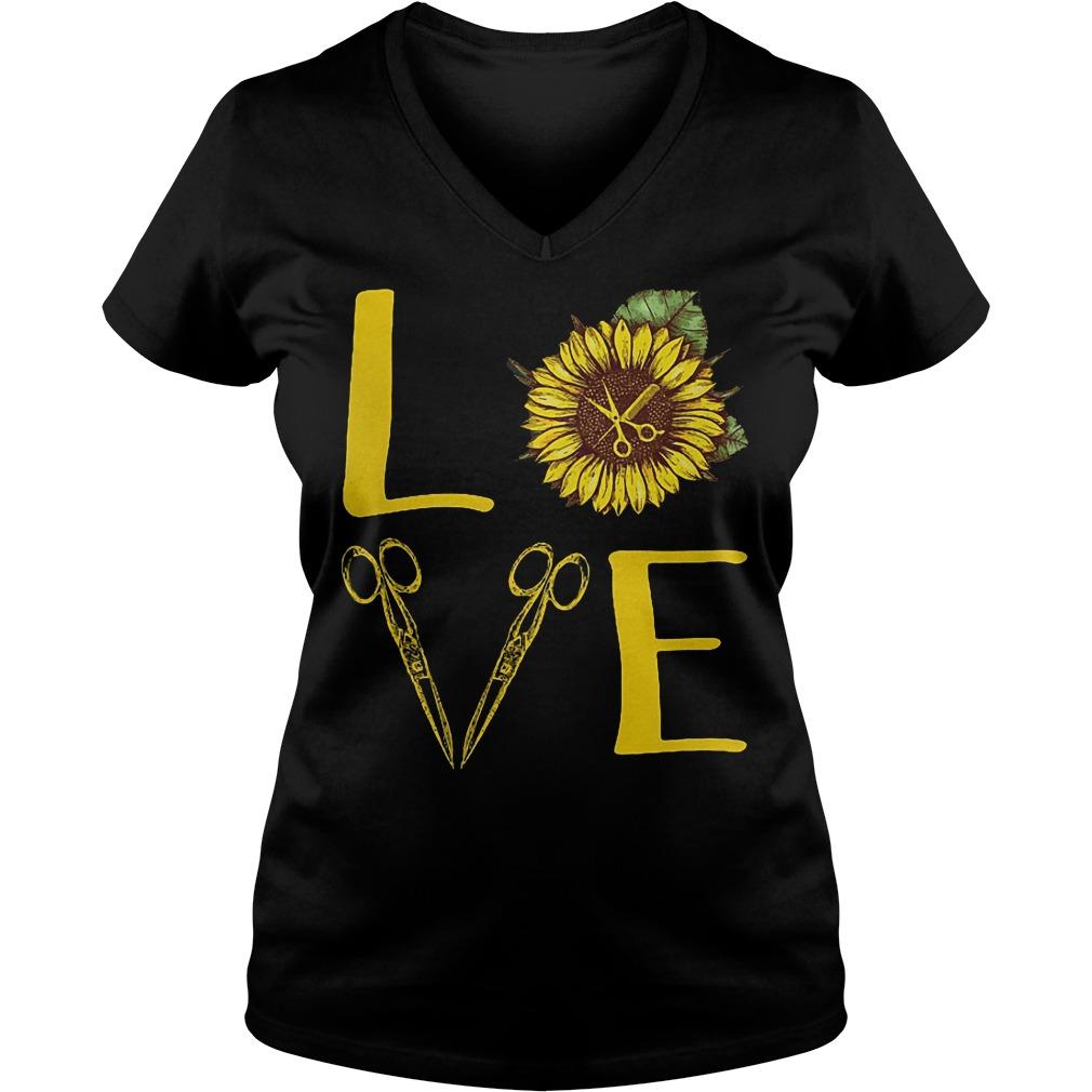 Hair Stylist Sunflower Stacked Love Barber Things Shirt Ladies V-Neck