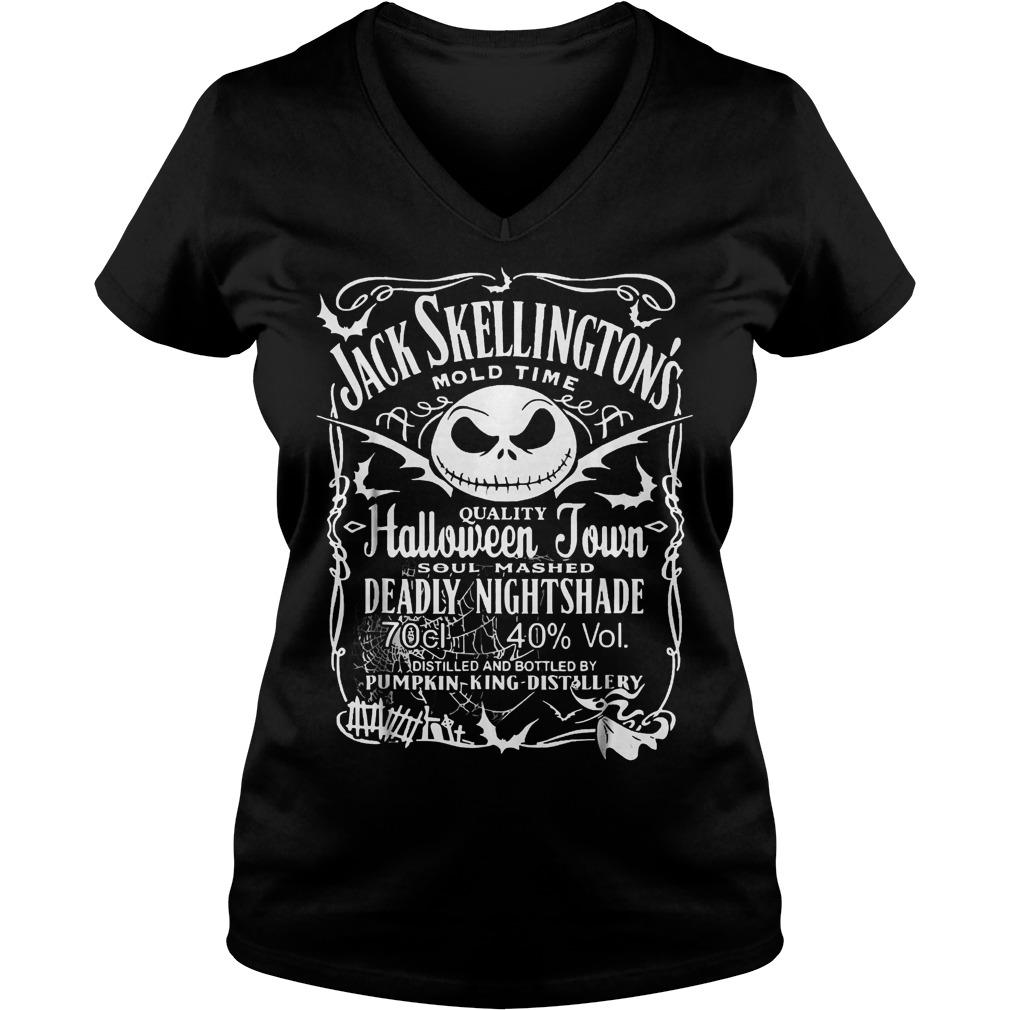 Jack Skellington's mold time quality halloween town shirt Ladies V-Neck