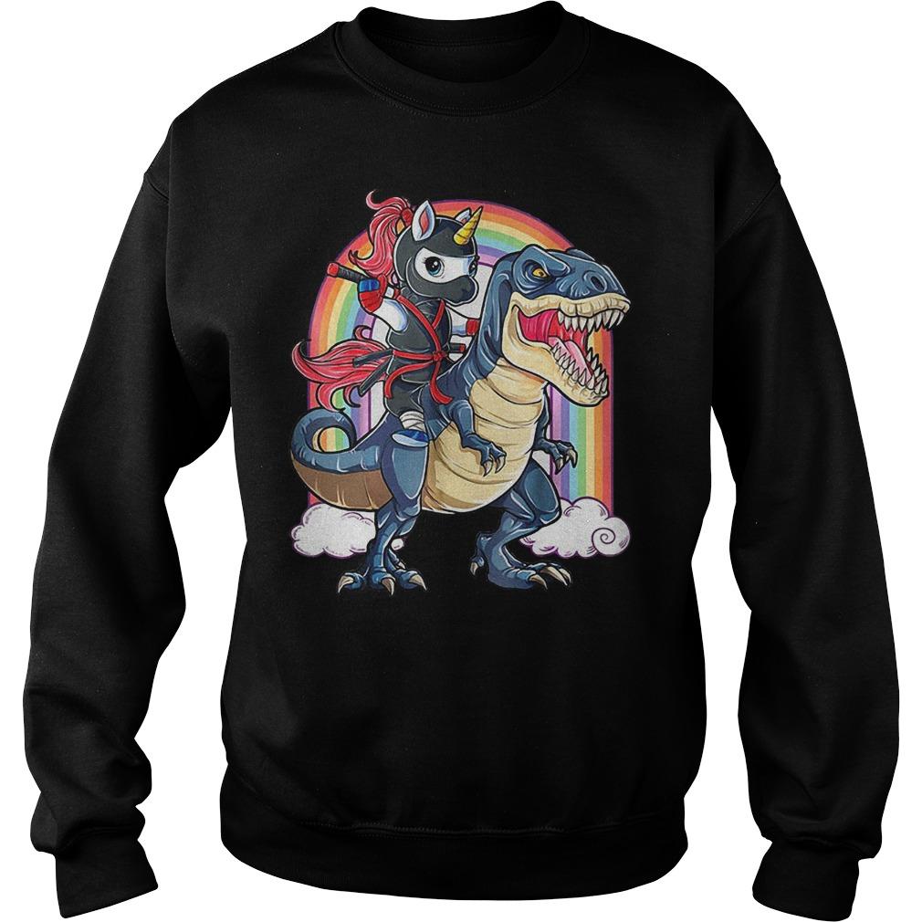 Ninja Unicorn riding dinosaur T-rex rainbow shirt Sweatshirt Unisex