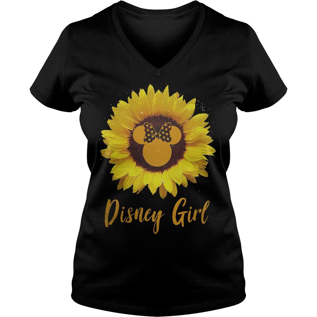 Sunflower Minnie Mouse Disney girl Shirt Ladies V-Neck