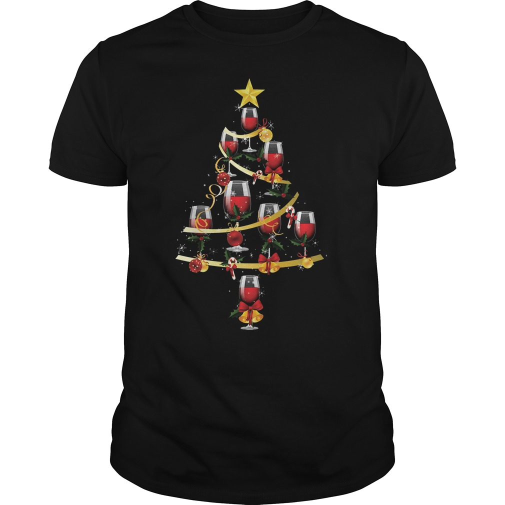 Wine glass christmas tree shirt