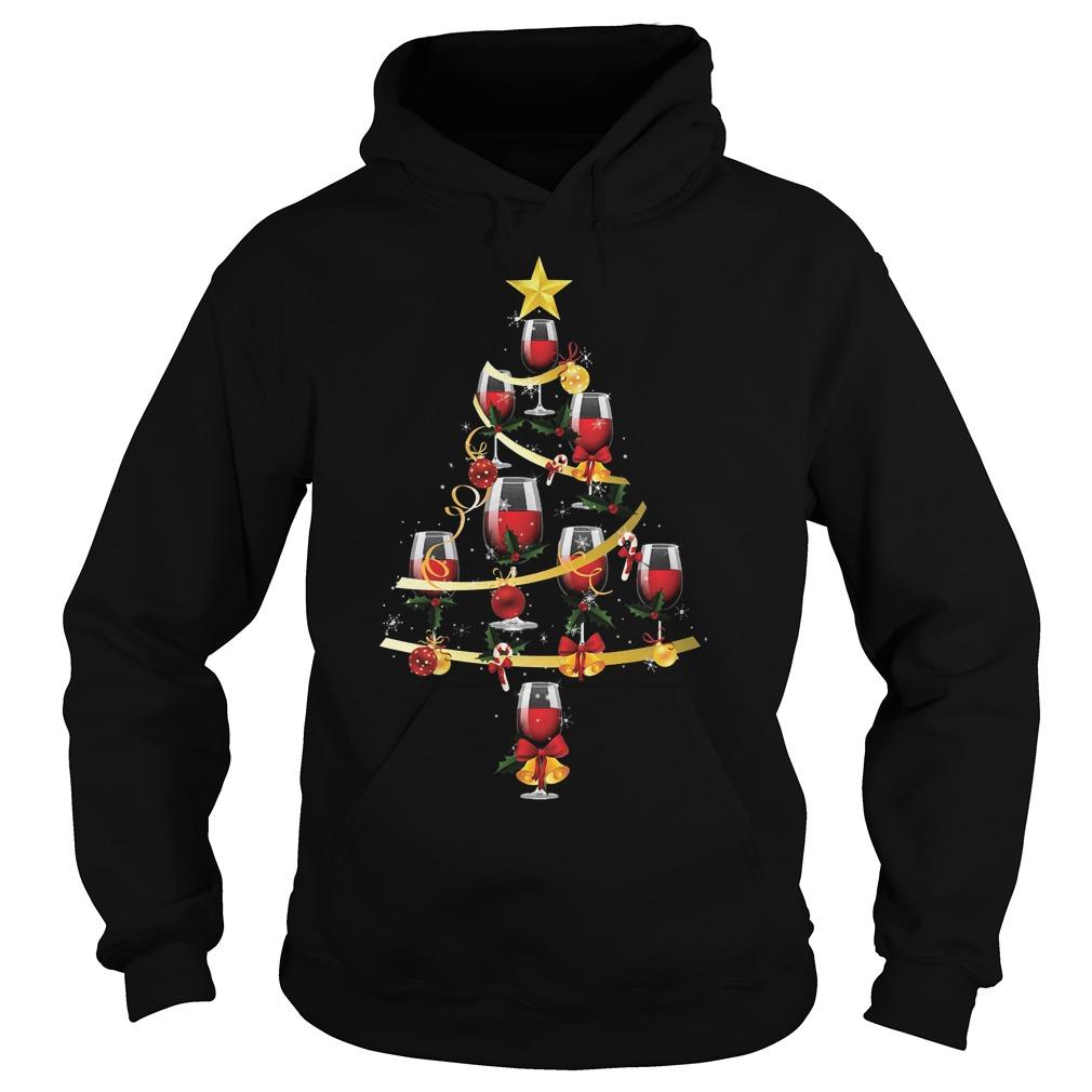 Wine glass christmas tree shirt Hoodie