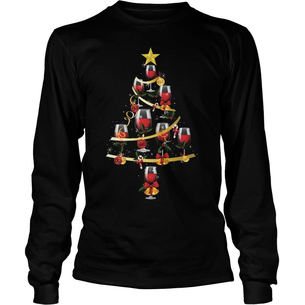 Wine glass christmas tree shirt Longsleeve Tee Unisex