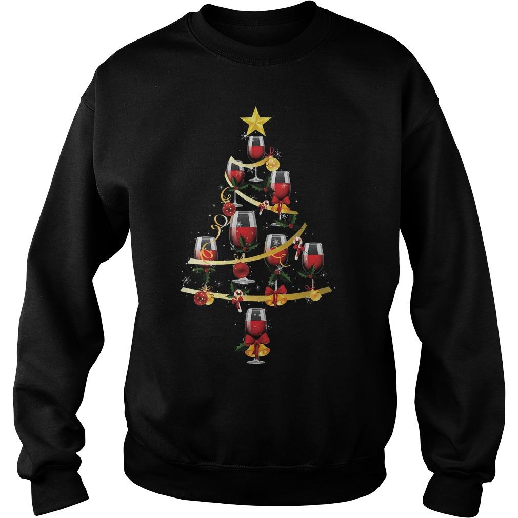 Wine glass christmas tree shirt Sweatshirt Unisex