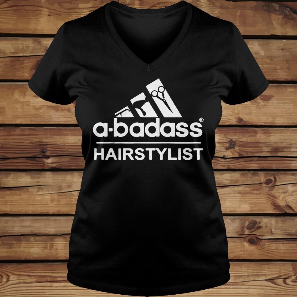 A-Badass Hairstylist shirt Ladies V-Neck