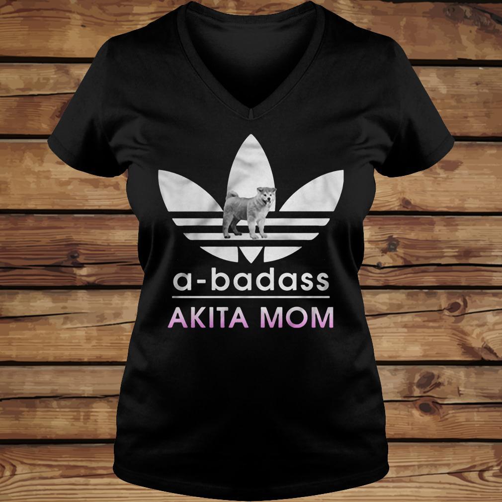 A-badass Akita Mom shirt Ladies V-Neck