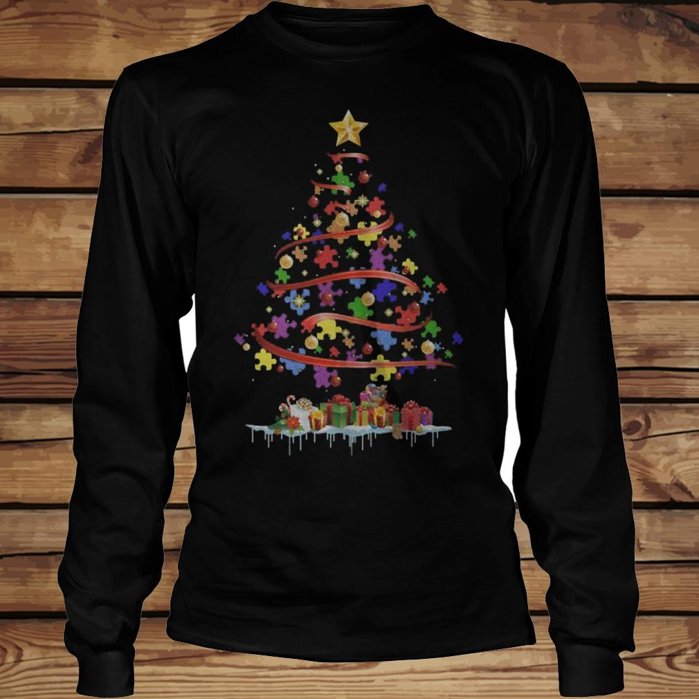 Autism Awareness Christmas Tree shirt Longsleeve Tee Unisex