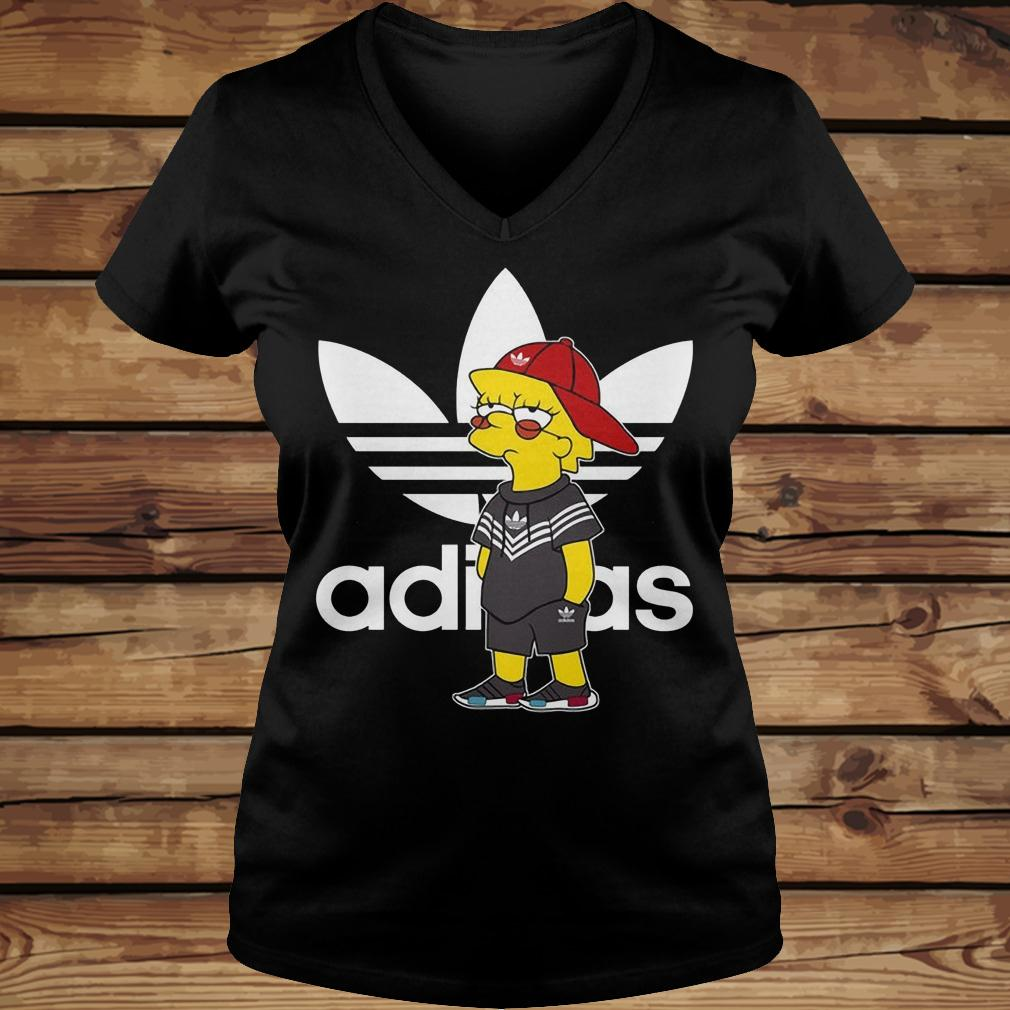 Bart Simpson And Adidas Brand shirt Ladies V-Neck