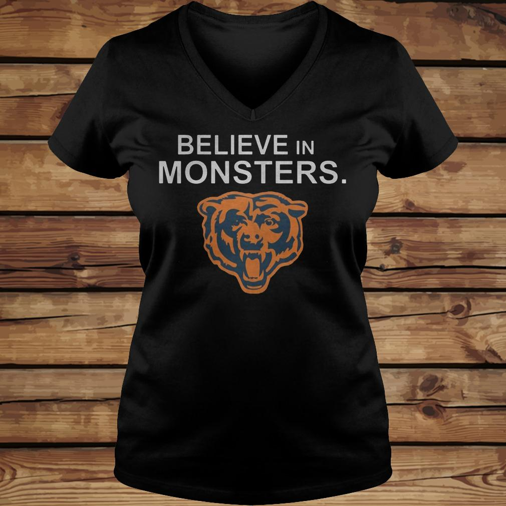 Chicago Bears Believe In Monsters shirt Ladies V-Neck