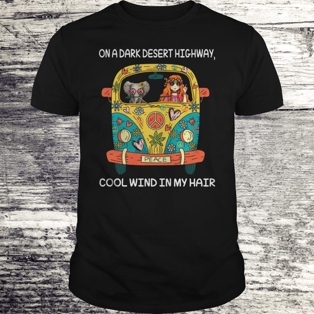 Elephant and girl on the dark desert highway cool wind in my hair Shirt Classic Guys / Unisex Tee