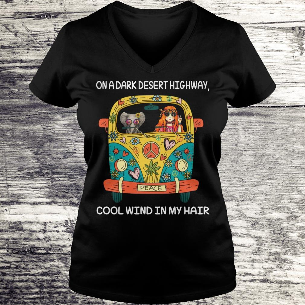 Elephant and girl on the dark desert highway cool wind in my hair Shirt Ladies V-Neck