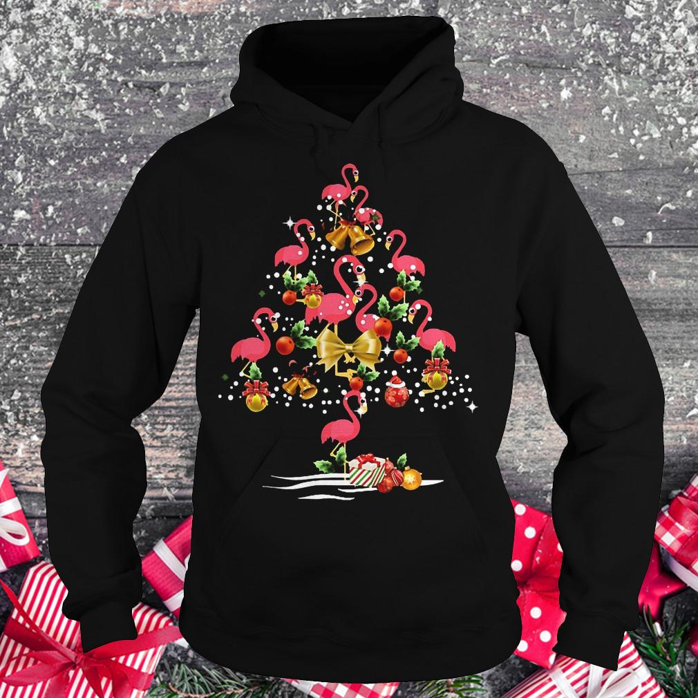 Flamingo Christmas tree shirt Hoodie
