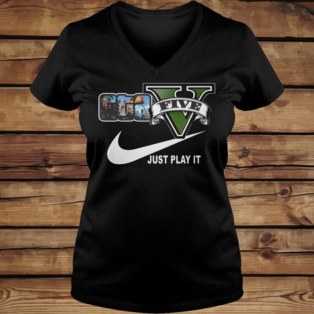 Grand Theft Auto V x Nike Just Play It Logo shirt Ladies V-Neck