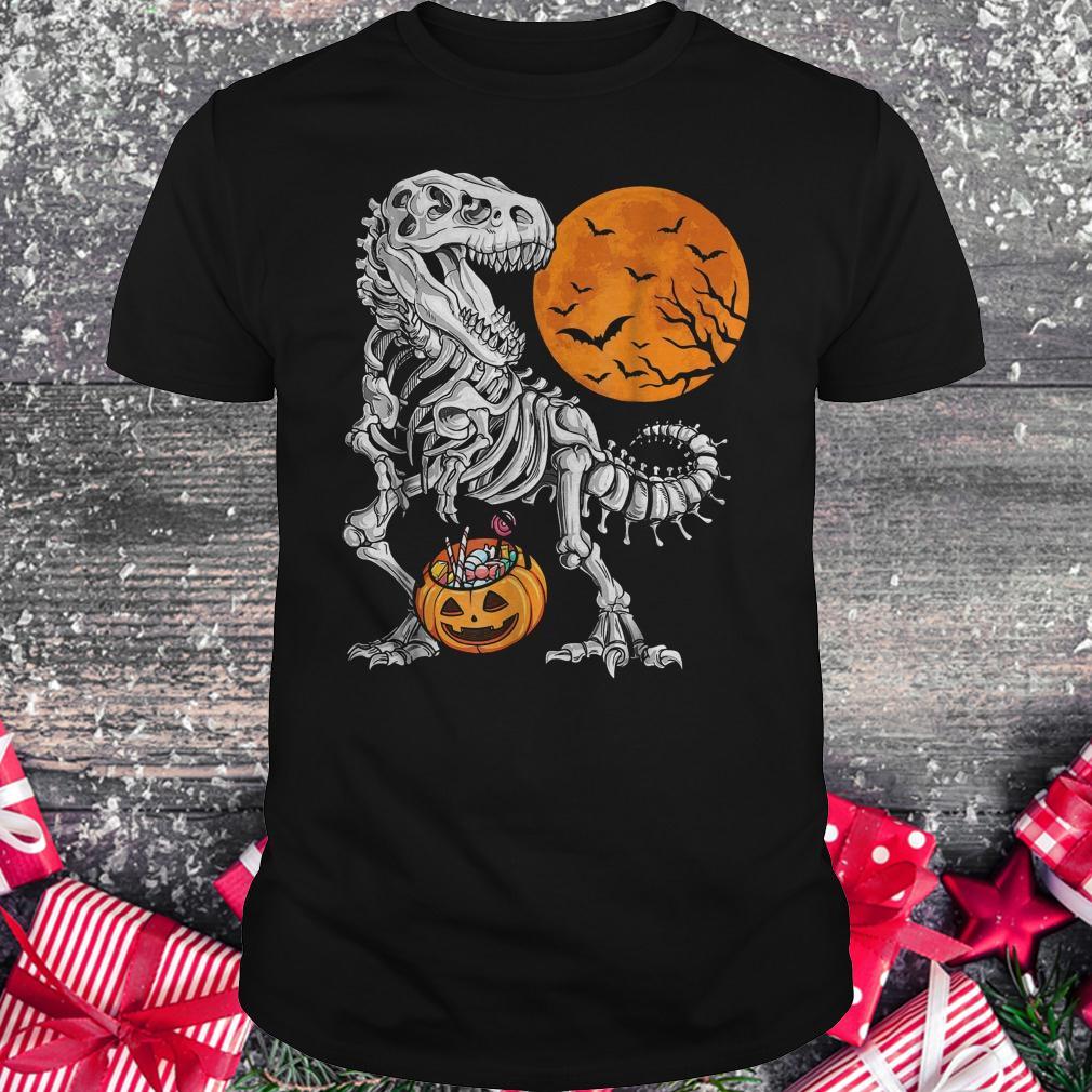 Halloween dinosaur T rex skeleton pumpkin moon shirt