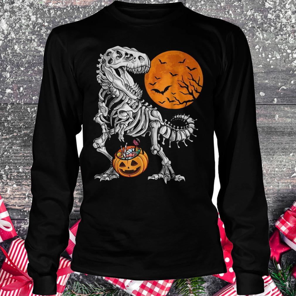 Halloween dinosaur T rex skeleton pumpkin moon shirt Longsleeve Tee Unisex