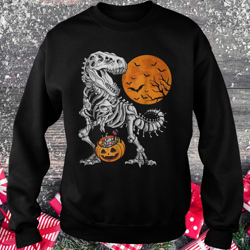 Halloween dinosaur T rex skeleton pumpkin moon shirt Sweatshirt Unisex