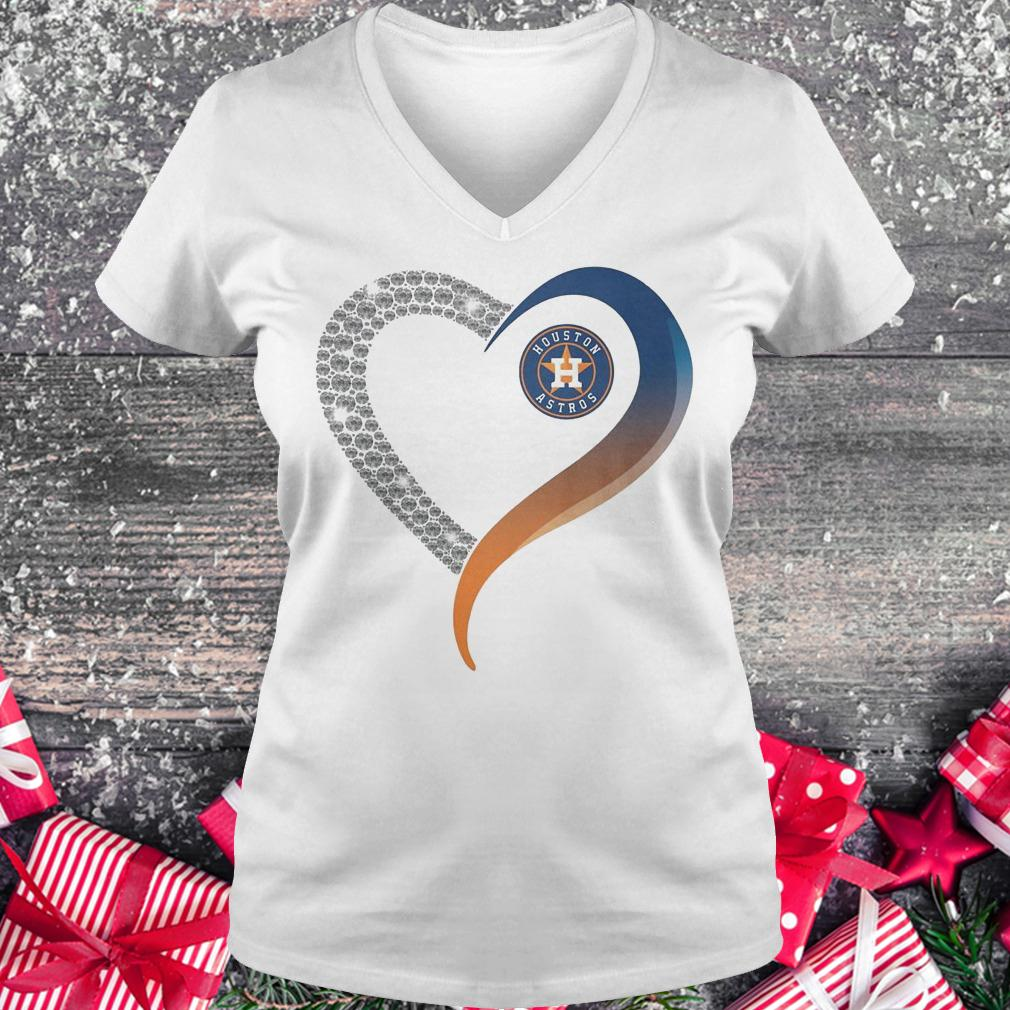 Houston Astros heart blink shirt Ladies V-Neck