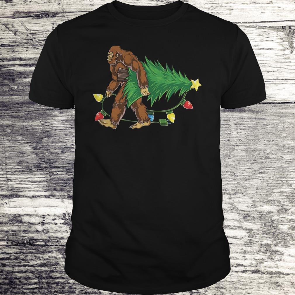 Hugging Christmas Tree Bigfoot Shirt Classic Guys / Unisex Tee