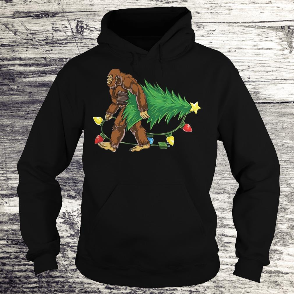 Hugging Christmas Tree Bigfoot Shirt Hoodie