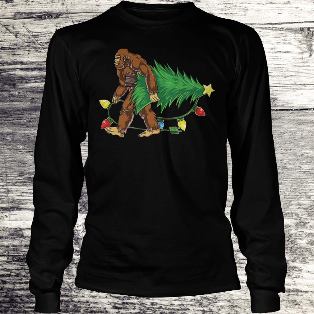Hugging Christmas Tree Bigfoot Shirt Longsleeve Tee Unisex