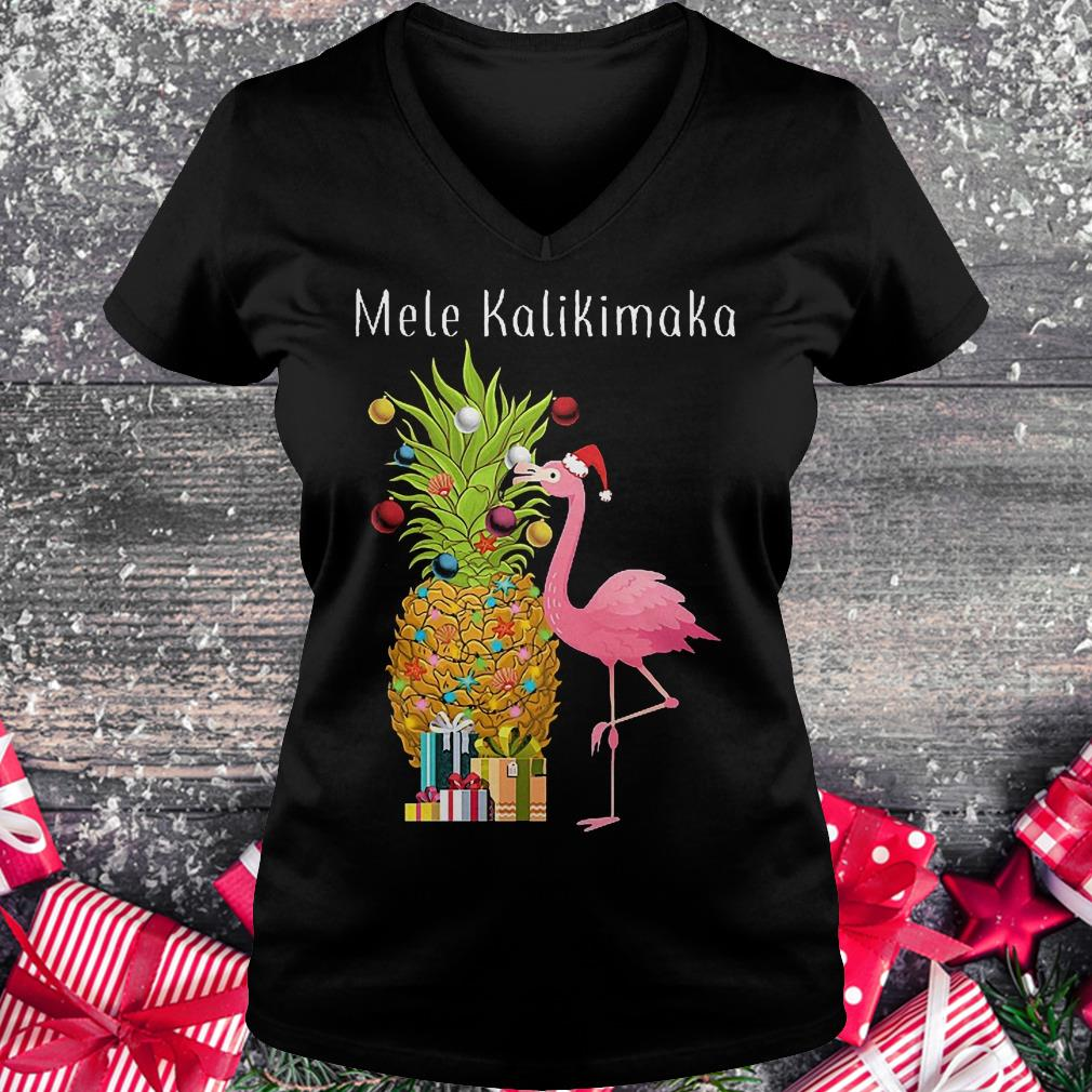 Mele Kalikimaka flamingo shirt Ladies V-Neck